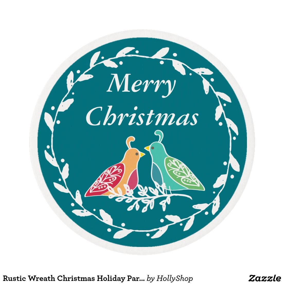 Rustic Wreath Christmas Holiday Partridge Birds Edible Frosting Rounds