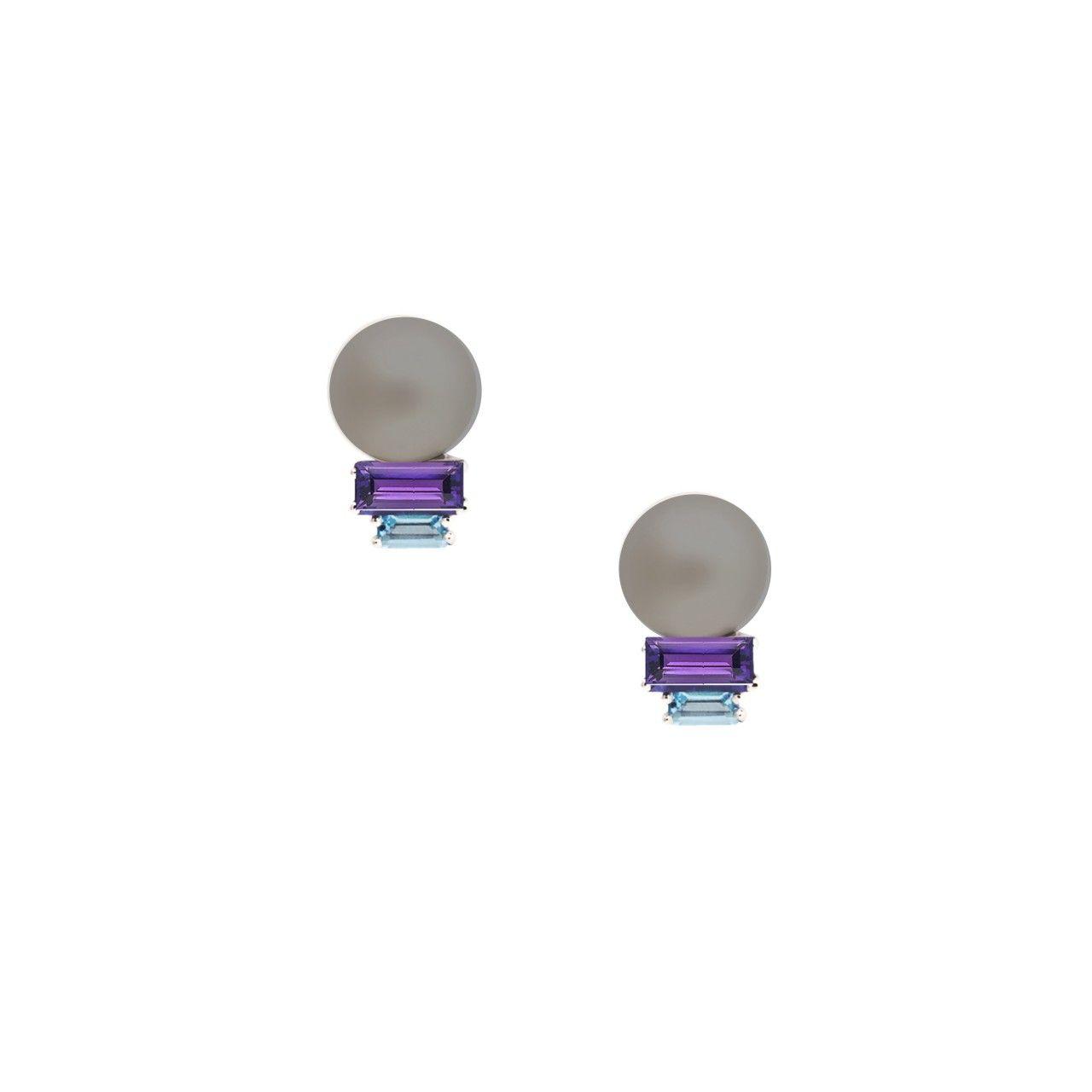 Morning Light Earrings Silver pearl Daou Jewellery