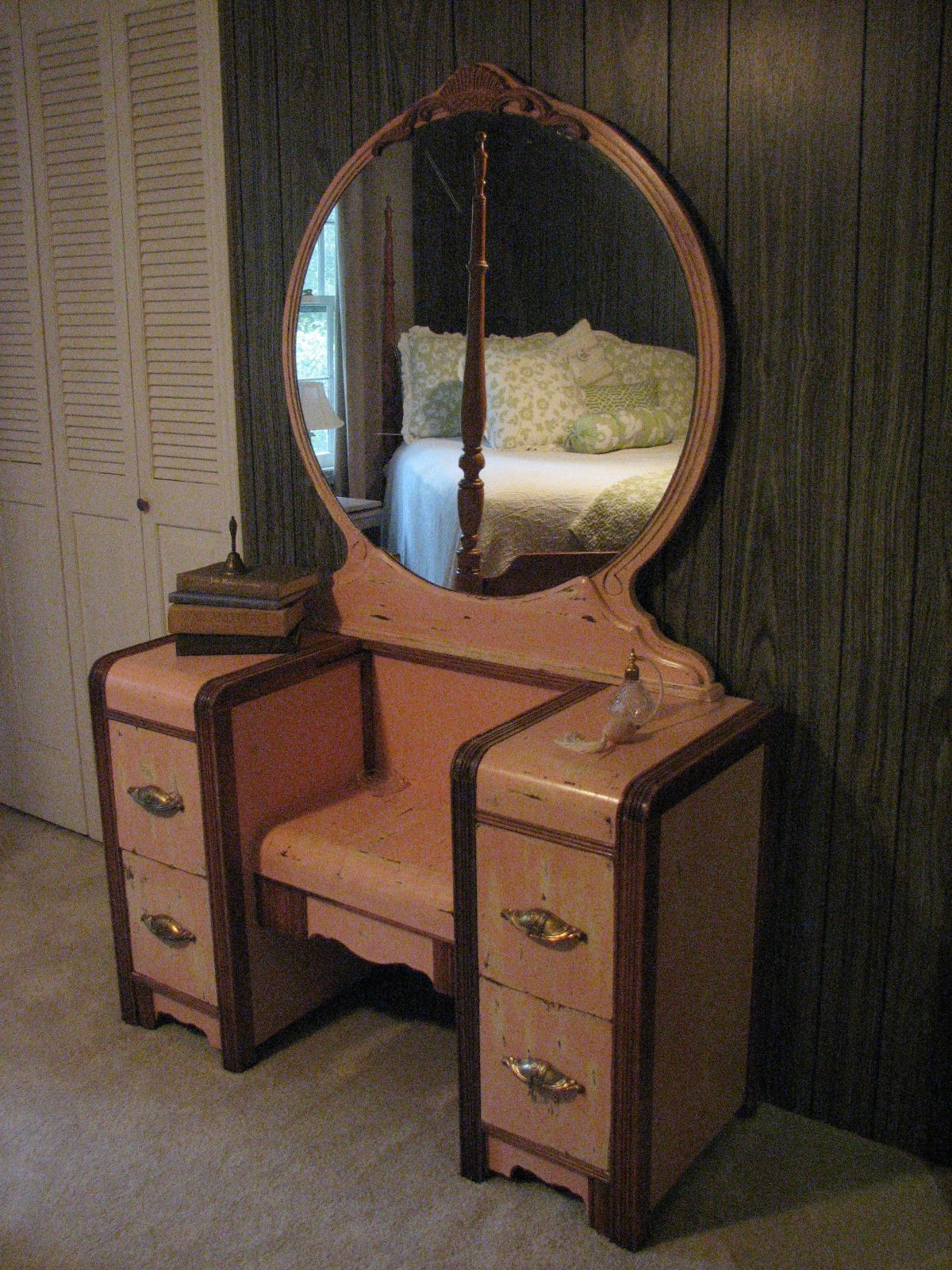 Antiqued Pink 1950' Waterfall Vanity Refinished