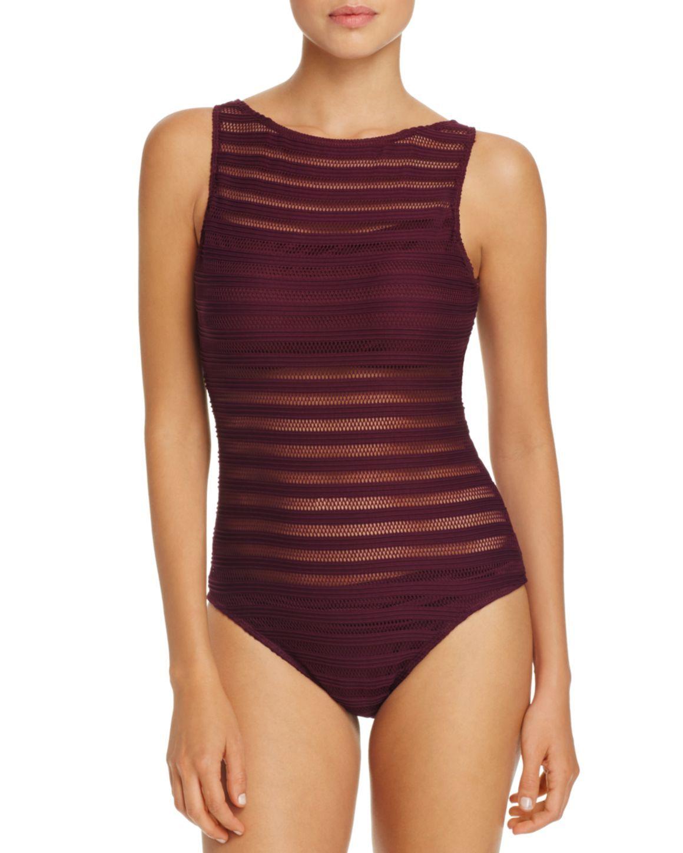 e8125feab0686 Lauren Ralph Lauren Ottoman Boat Neck One Piece Swimsuit