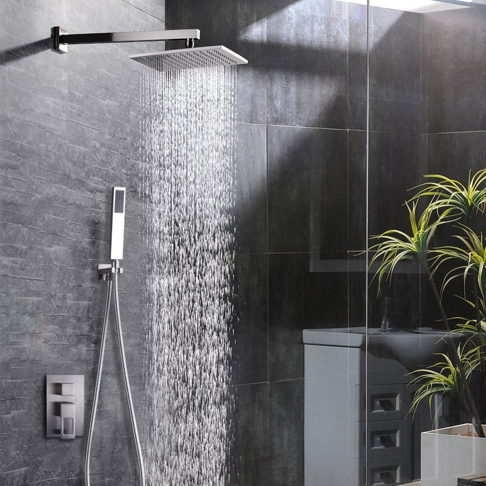Brushed Nickel Shower Faucet Set For Bathroom Air Injection Technology 12 Square Rain Shower Head Easy Installation Eco Friendly Shower Faucet Shower Faucet Sets Rain Shower Head [ 1000 x 1000 Pixel ]