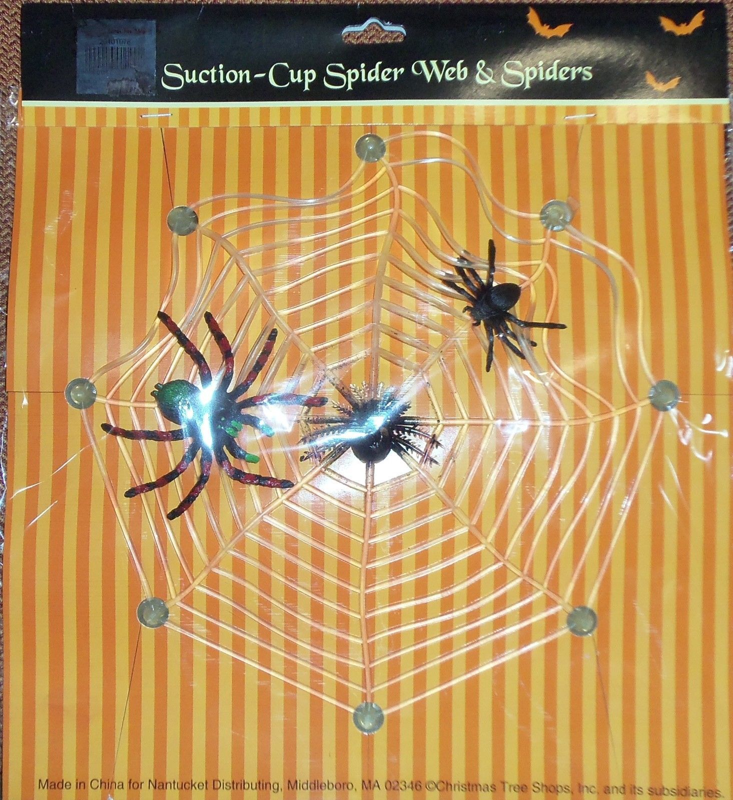 650 - Halloween Suction Cup Spider Web & Spiders Decoration #Halloween