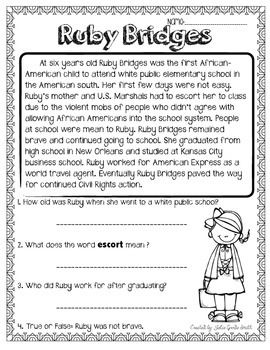 Ruby bridges reading worksheets for second grade ruby for Ruby bridges coloring pages
