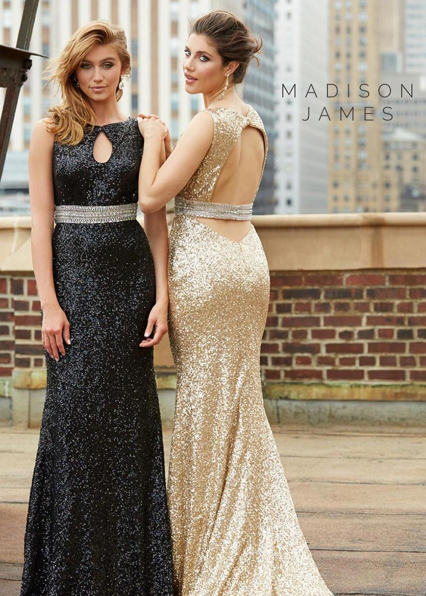 Madison james black gold sequin dresses rissyroos
