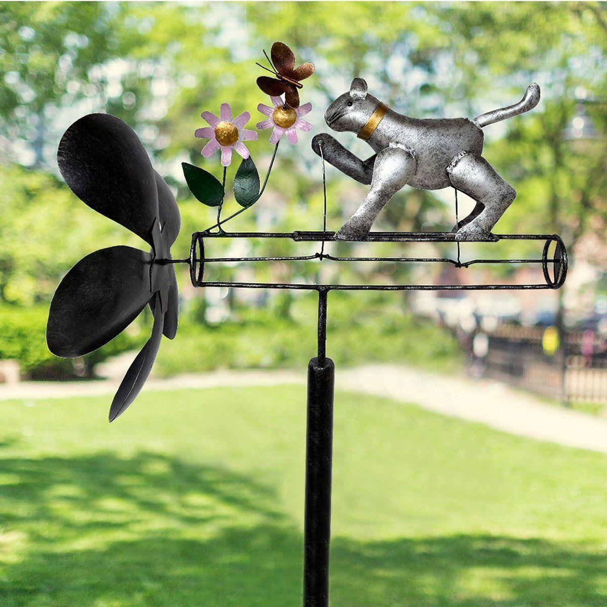 Cat butterfly whirligig garden stake in 2020 whirligig