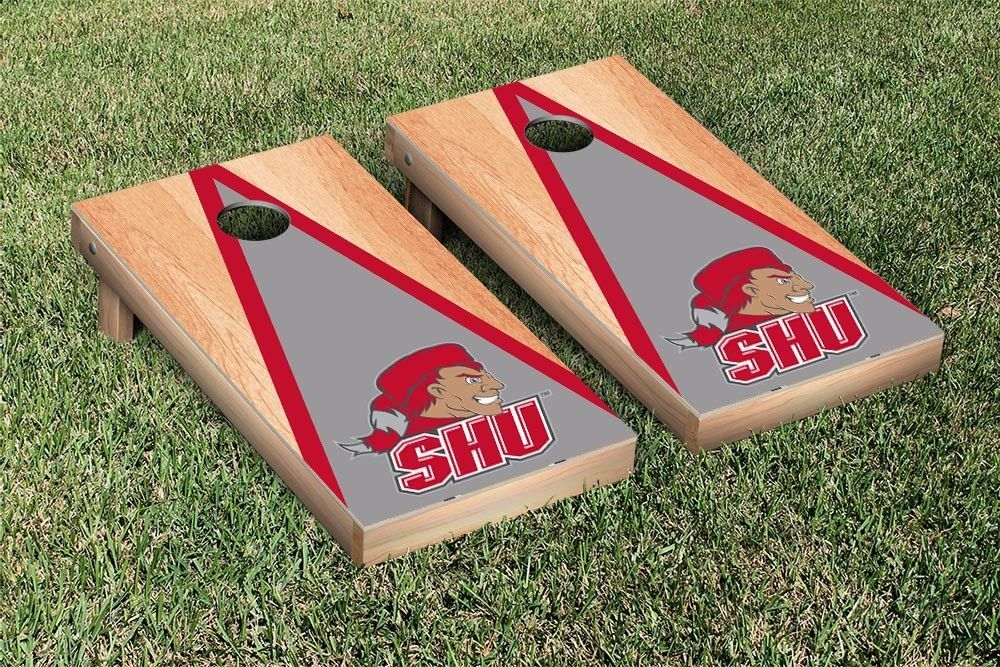 Sacred Heart University Pioneers Triangle Hardcourt Cornhole Bag Toss Game