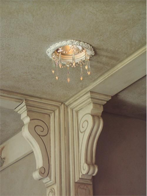 Victorian Ceiling Medallion W Crystals Recessed Lighting