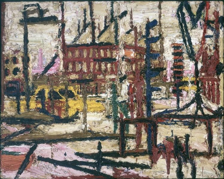 Mornington Crescent by Frank Auerbach. Expressionism. cityscape