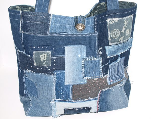 funky patchwork jeans bag