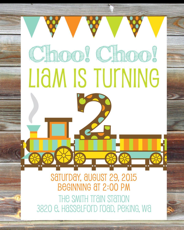 Printable Custom Chalkboard Train Theme First Birthday Invitation ...