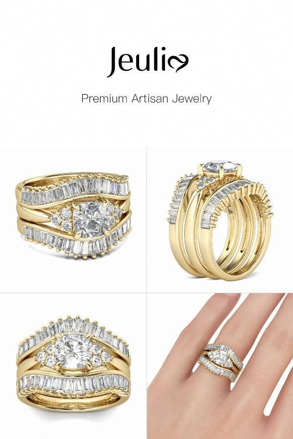 7f2febef05286d Gold Tone Cushion Cut Sterling Silver 3PC Ring Set - Jeulia Jewelry  #stunningsterlingsilverrings