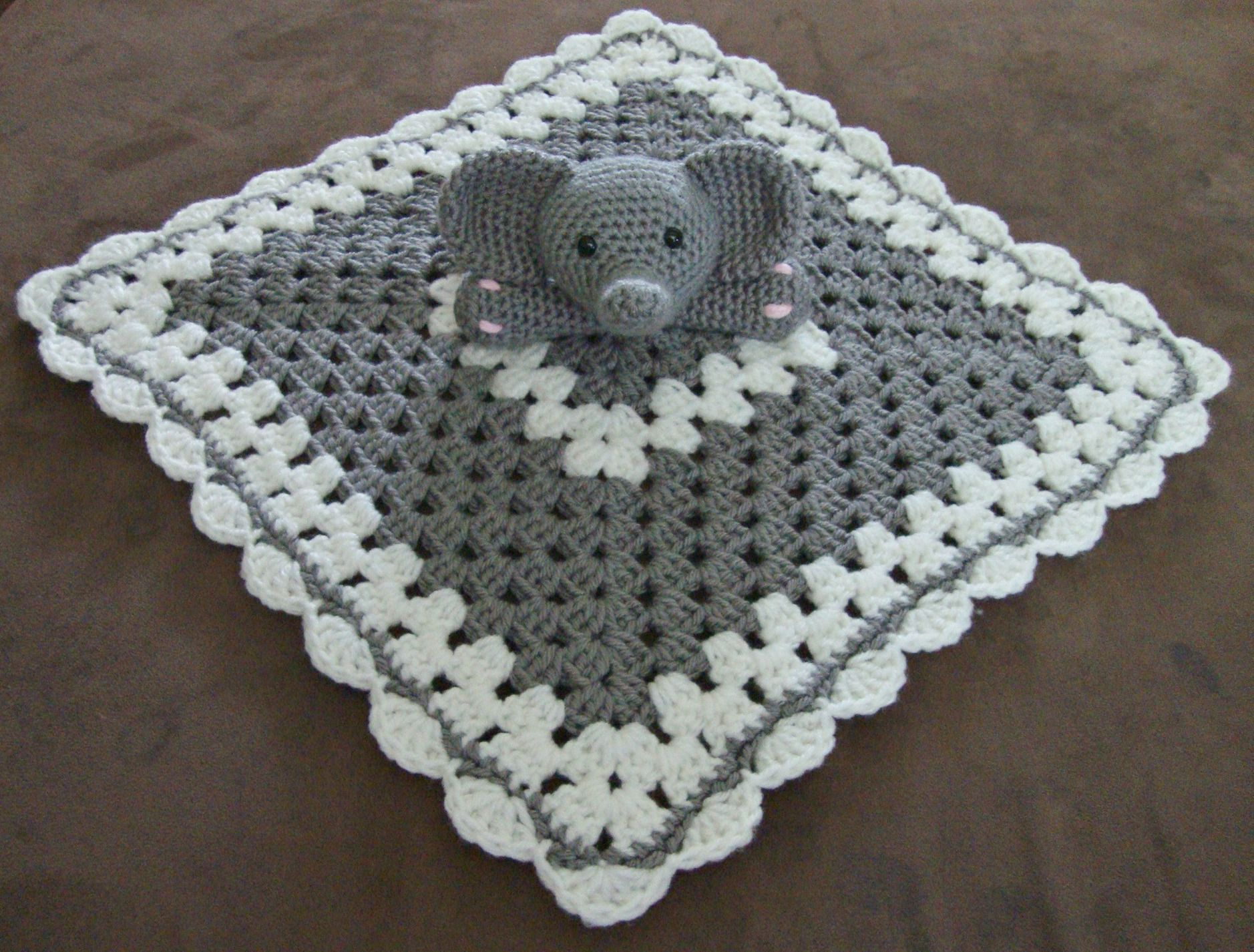 Crochet Pattern For Elephant Blanket : Crochet elephant lovey/security blanket LOVEY BLANKETS ...
