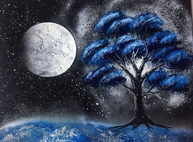 Blue Dream Spray Paint Art on Canvas, Mountain Painting on ...