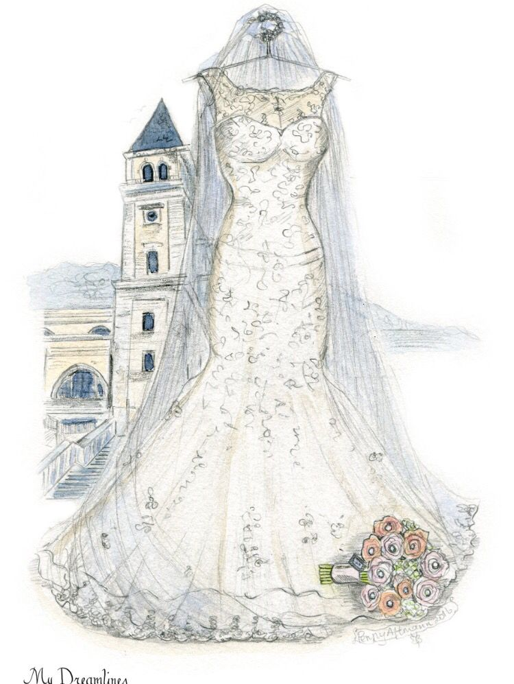 Dreamlines wedding dress sketch given as a wedding day gift to the ...