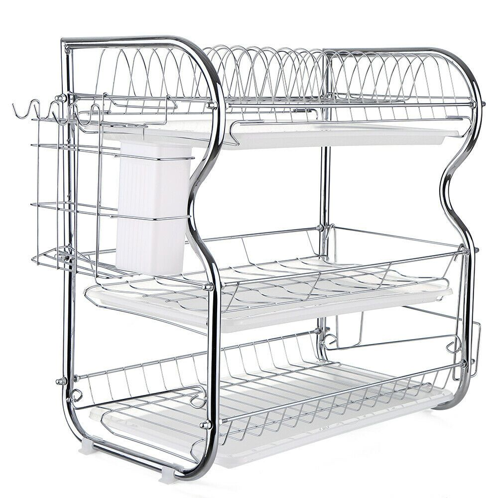 Details About Kitchen Dish Cup Drying Rack Holder Sink Drainer 3