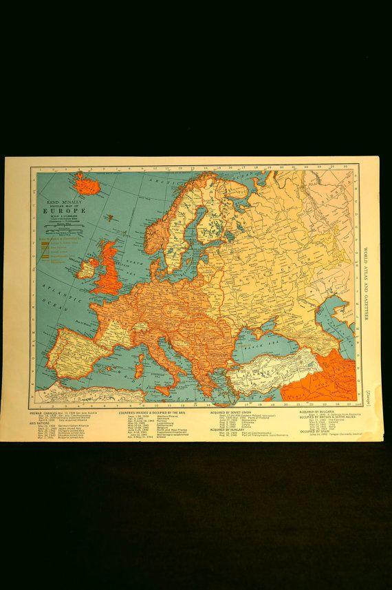 Vintage World War II Europe Map Mediterranean 1940s Orig 1940 | War ...