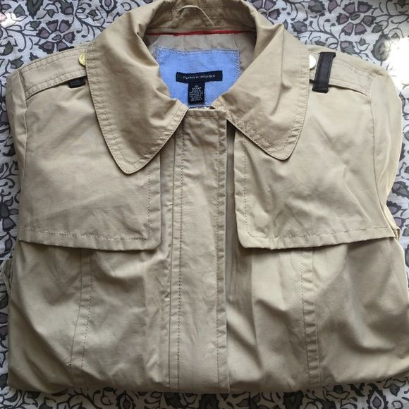 TOMMY HILFIGER Short Trench with Collar I'm selling a light tan short trench coat! Comes with a collar and waist belt, form fitting and perfect for a spring day! Tommy Hilfiger Jackets & Coats Trench Coats