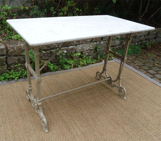 Table ancienne de jardin plateau en marbre et pied en fonte ...