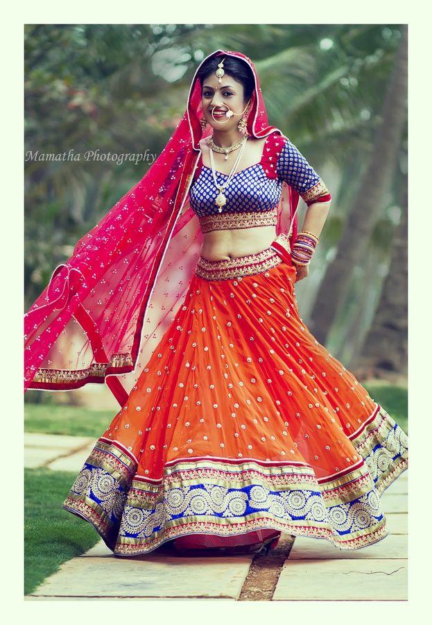 Orange Lehenga Blue Blouse Pink Dupatta Indian