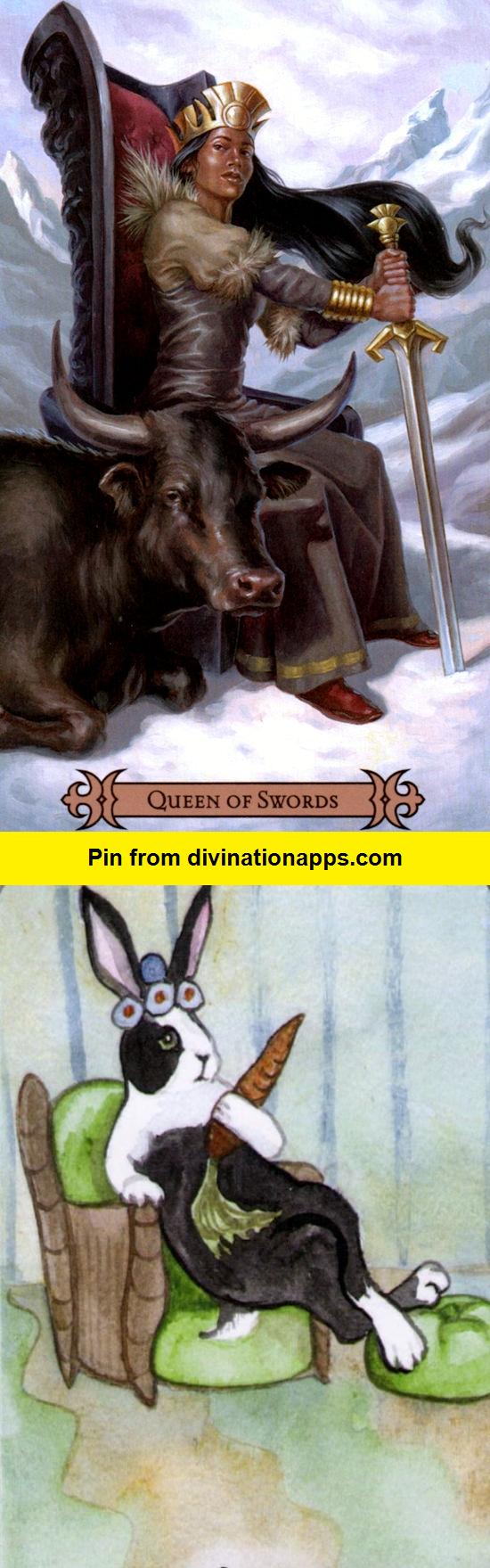 Best Tarot Decks 2020 Queen of Swords: sharp witted woman and cruel (reverse