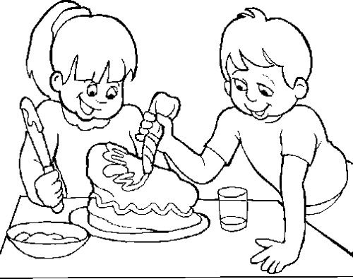 The Child Make A Cake Chocolate Coloring Page | Chocolate ...