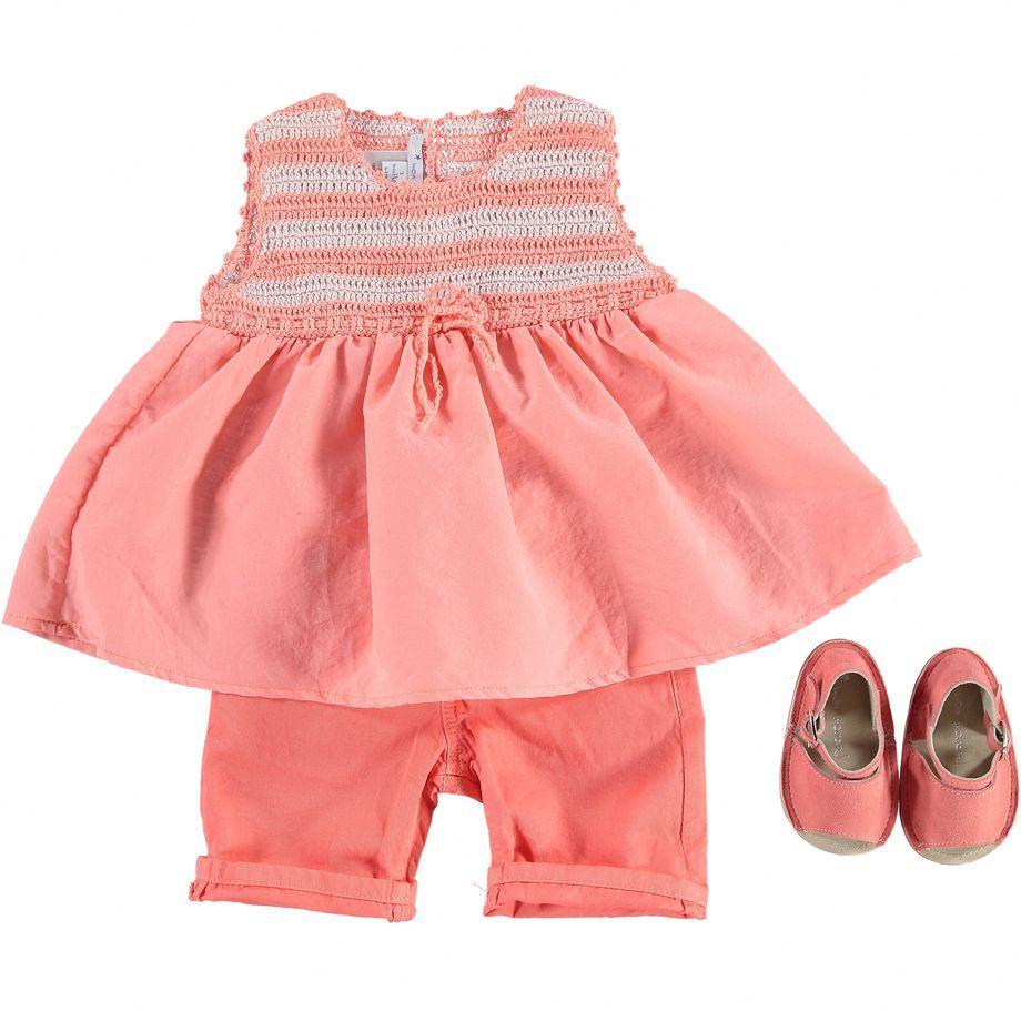 Mon Marcel collezione p/e 2015   Abitino con top crochet a righe e shorts rosa   Foto