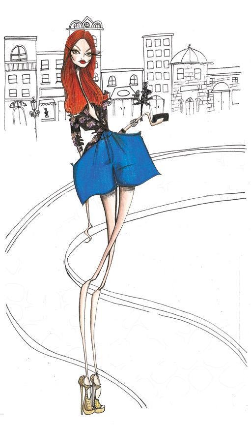 BON V VANTS: STRUT AND SHOUT TAYLOR TOMASI HILL FOR V83, THE DRAWN TO FASHION ISSUE, EDITOR-AT-LARGE DEREK BLASBERG ASKED L.A.-BASED ILLUSTRATOR JAMIE LEE REARDIN TO DRAW HIS FAVORITE BLOGGER-BAIT