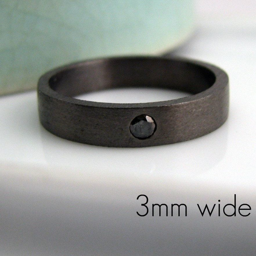 Black Diamond 3mm Wedding Band Decorative Gold Color Simple Tube Style Engravable And Customizable For Men Women