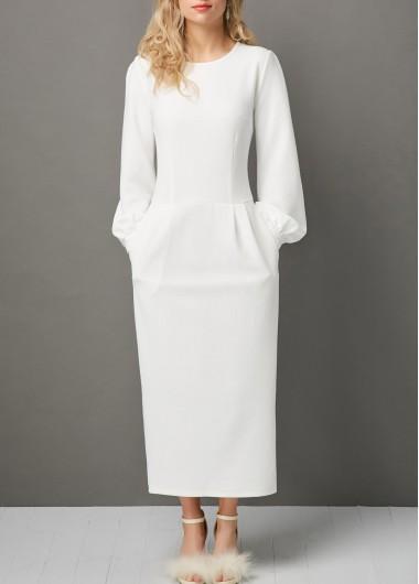 2e786d873f844 Lantern Sleeve Round Neck Pocket Maxi Dress | modlily.com - USD $33.53