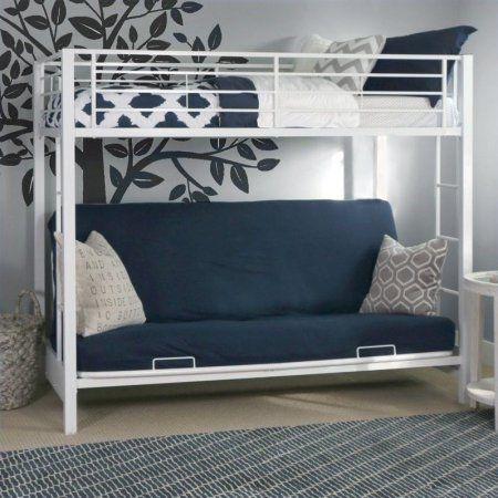 Walker Edison Twin Over Futon Metal Bunk Bed White Walmart Com Metal Bunk Beds Futon Bunk Bed White Bunk Beds