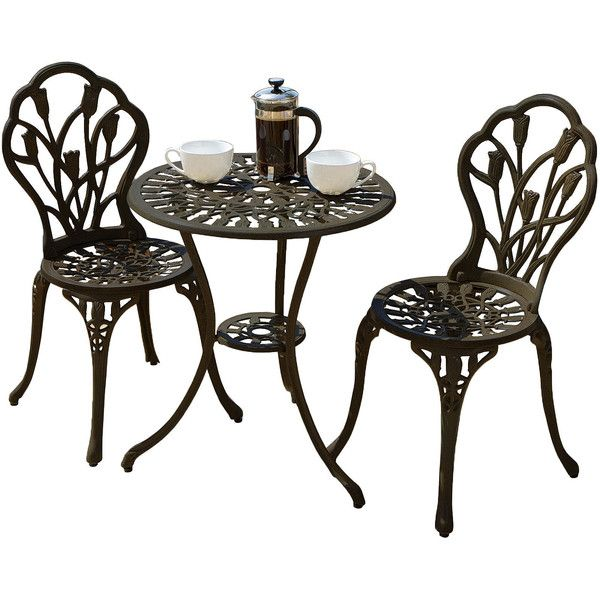 Nassau 3-pc. Outdoor Cast Aluminum Bistro Set, Brown - Patio Furniture... ($228) ❤ liked on Polyvore featuring home, outdoors, patio furniture, outdoor patio sets, outdoors patio furniture, garden furniture, three piece outdoor bistro set, 3 piece outdoor patio set and outside patio furniture