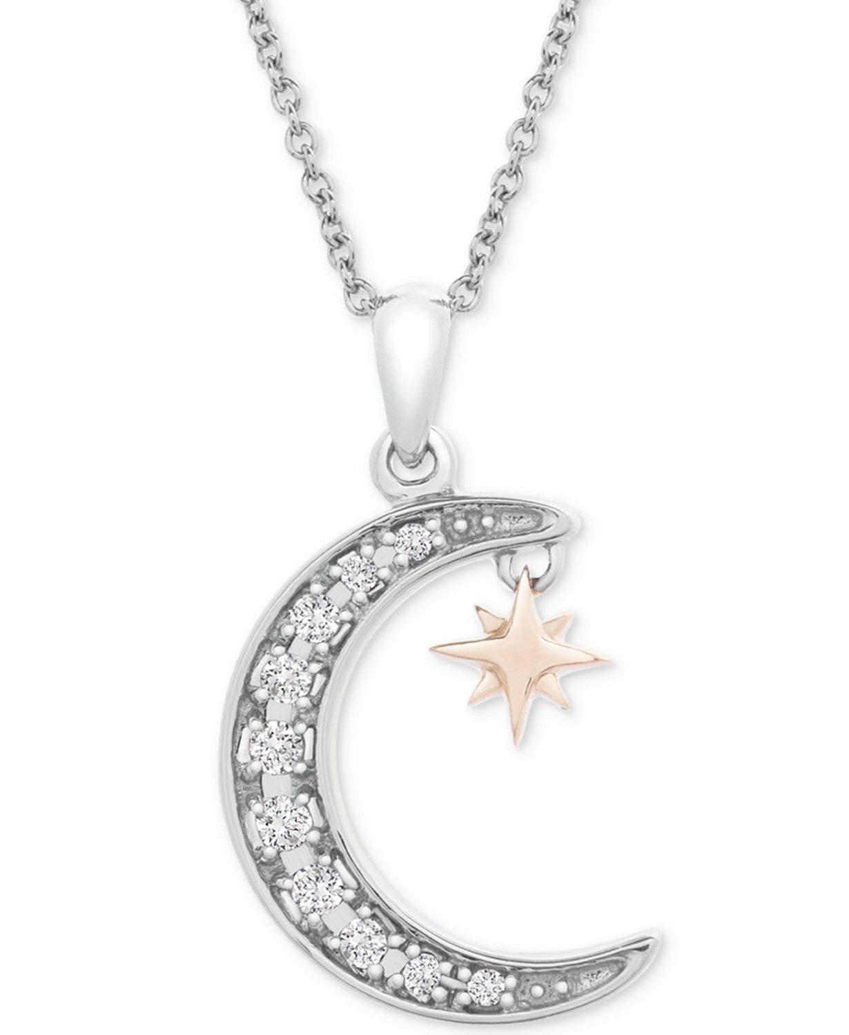 Diamond Crescent Moon Star 20 Pendant Necklace 1 10 Ct T W In Sterling Silver 14k Gold Plat Crescent Moon Jewelry Moon Jewelry Diamond Crescent Moon