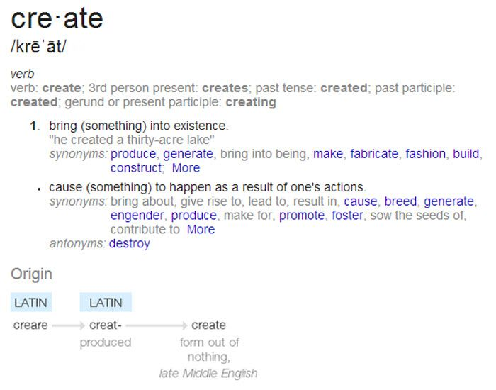 Bring Into Existence #definition