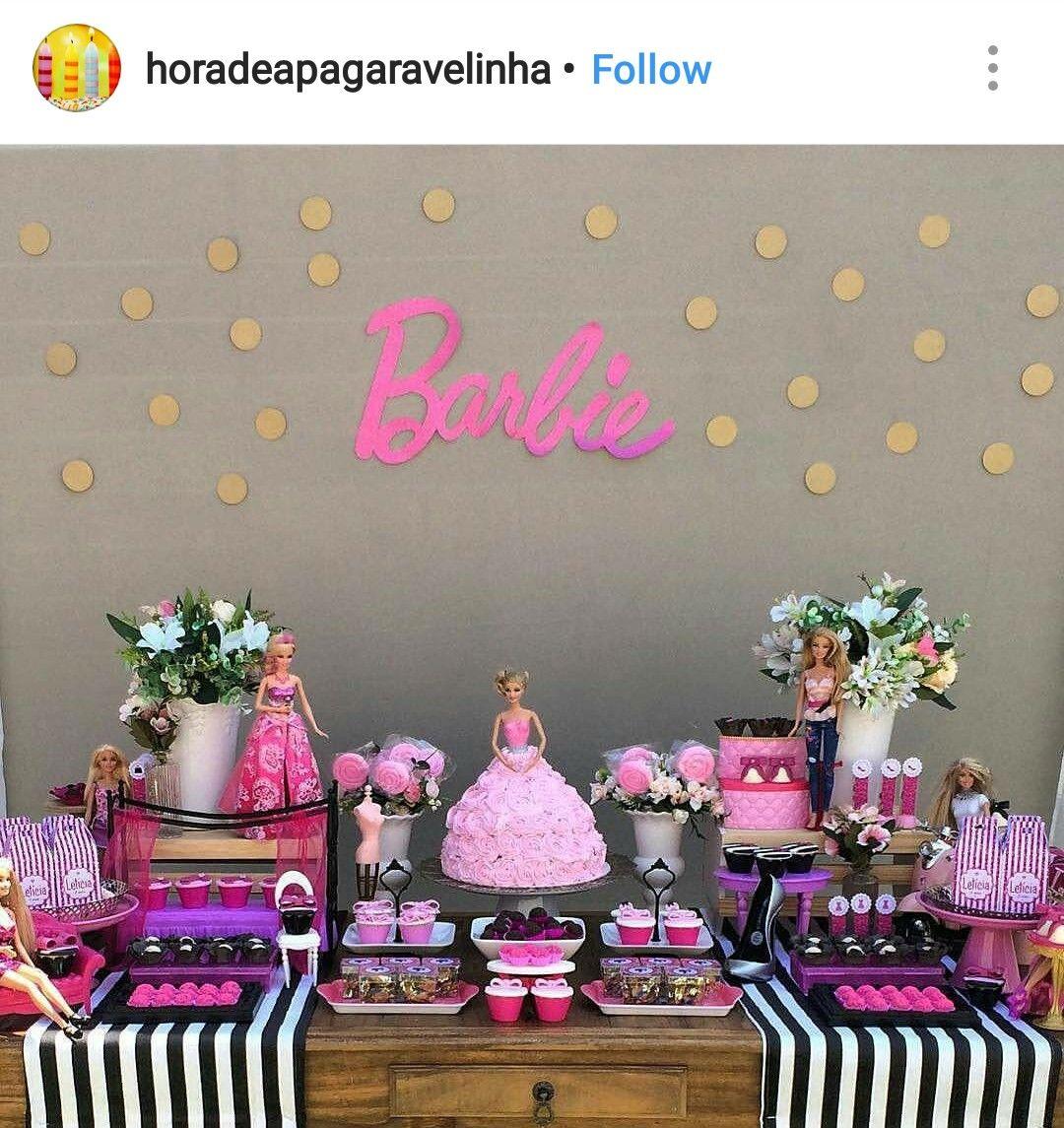 Barbie Zebra Theme 1st And 5th Birthday: Barbie Birthday Party Dessert Table And Decor