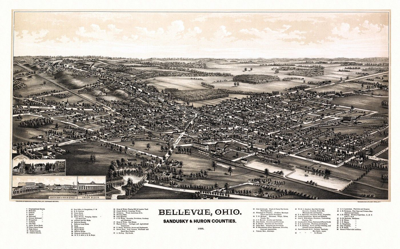 Old Map of Bellevue Ohio 1888 Sandusky & Huron County Poster