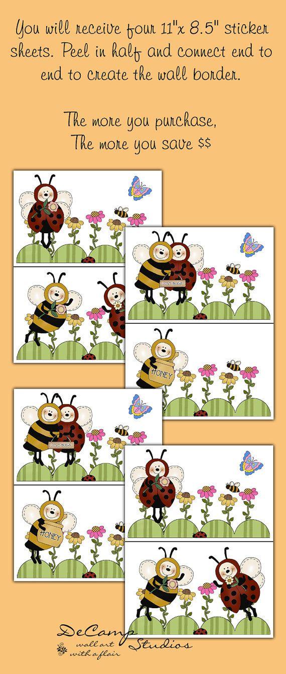 LADYBUG BUMBLE BEE Wallpaper Border Wall Decals Baby Girl Nursery ...