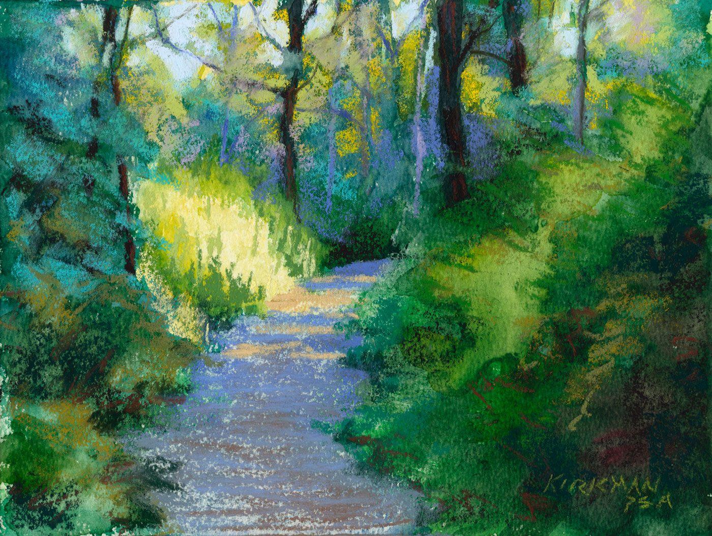 Fine watercolor art for sale - Rita Kirkman S Daily Paintings Park Trail 24 Pastel Over Watercolor