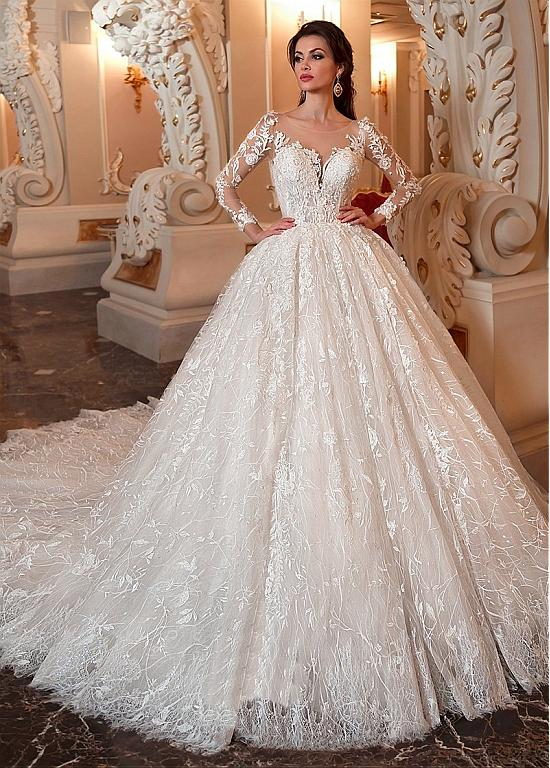 Marvelous Lace Tulle Scoop Neckline Ball Gown Wedding Dress With Lace Appliques Be Ball Gowns Wedding Wedding Dresses Lace Ballgown Ball Gown Wedding Dress