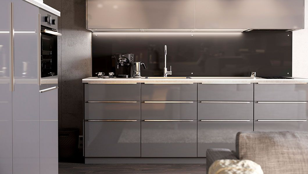 grey ikea kitchens google search kitchen ideas pinterest einbauk chen k che und k chen. Black Bedroom Furniture Sets. Home Design Ideas