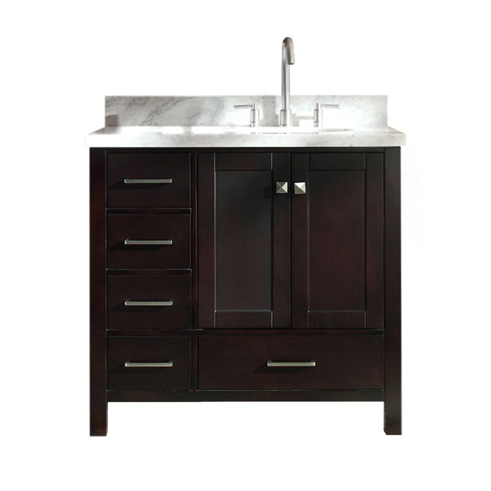Cambridge 37 Inch Right Offset Single Oval Sink Vanity In Espresso