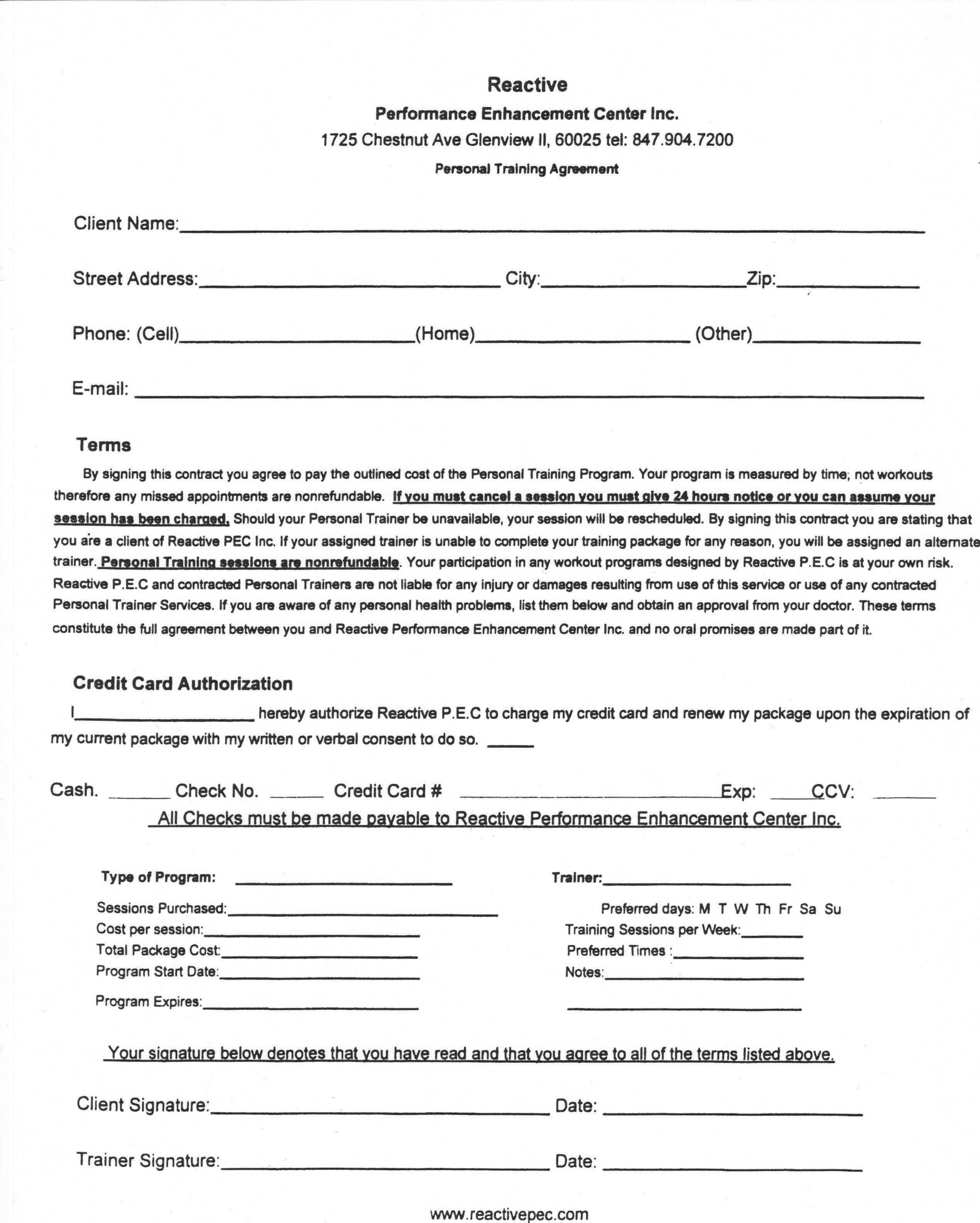 Personal Training Forms Images Personal Training Agreement