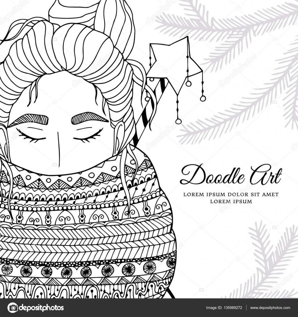 Downloaden Vector Kerstmis Illustratie Zentangl Meisje In De Sjaal Doodle Tekening Kleurplaat Boeken Anti Stress Voor Volwass Illustratie Tekenen Zwart Wit