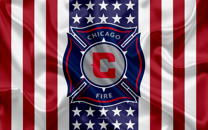 Download Wallpapers Chicago Fire 4k Logo Silk Texture American Flag Emblem Football Club Mls Chicago Illinois Usa Major League Soccer Eastern Confer Chicago Fire Sports Flags American Flag