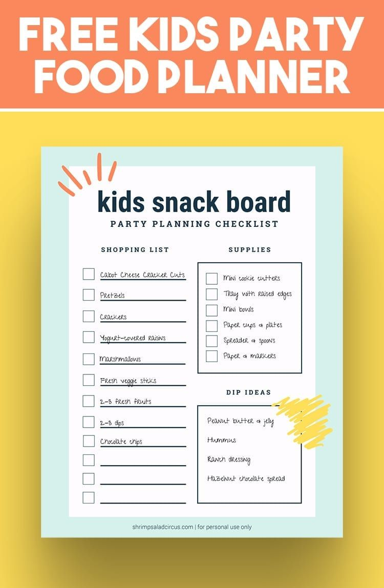 Kids Party Food Ideas And Printable