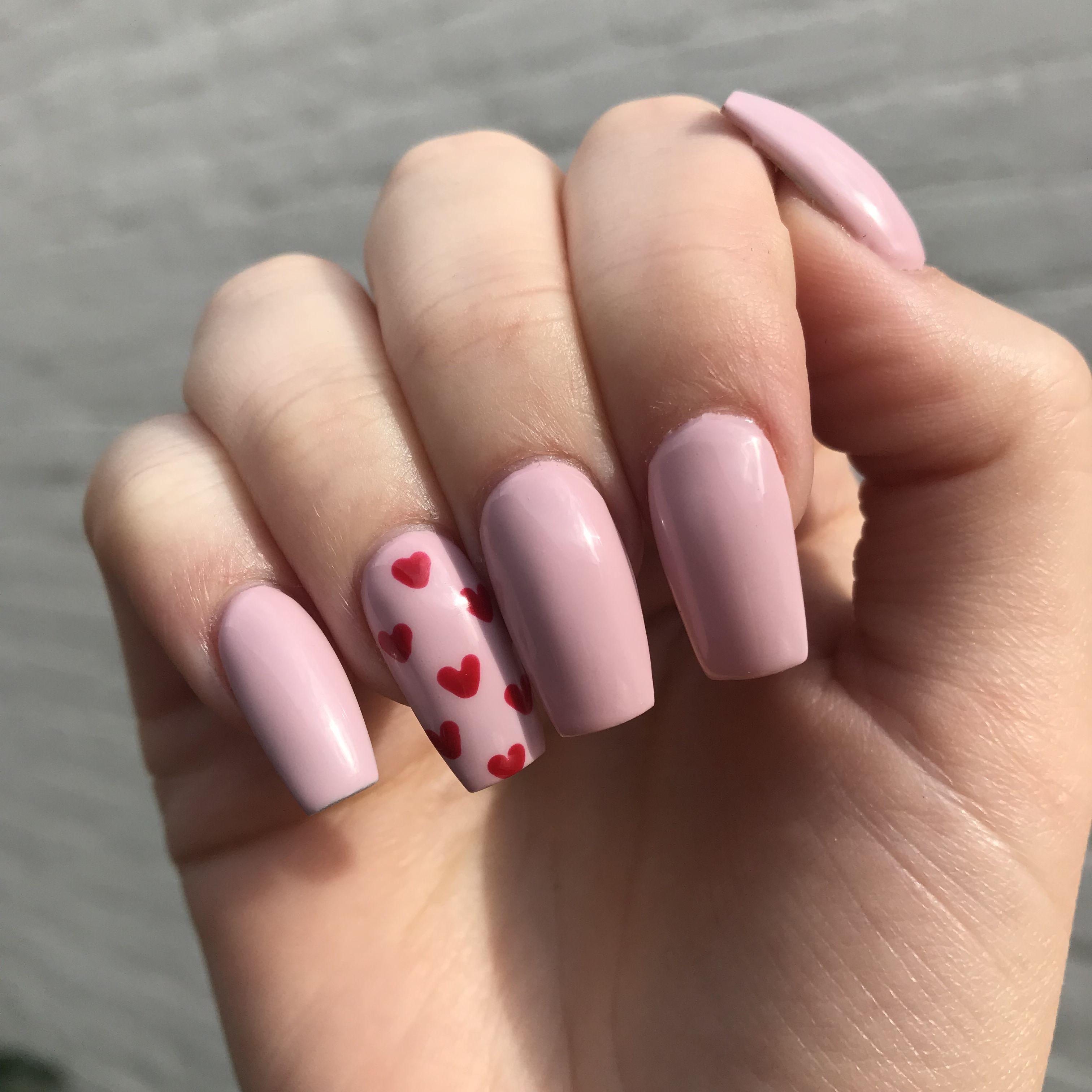 #Cute #hearts #nails #pink #red Cute pink and red hearts nails         Acrylic nails with baby pink gel polish and red hearts. Nails by Bethany Moreton @nailsbybeff #acyrlicnails #gelnails #gelpolish #thegelbottle #prettynails #dopenails