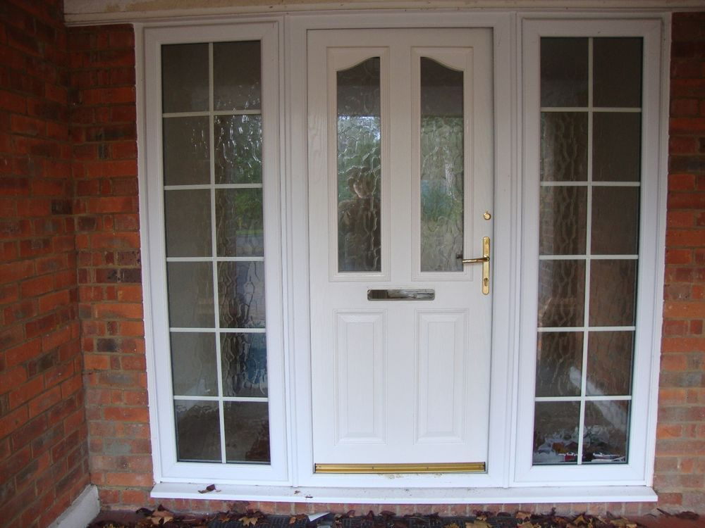 Upvc white half glass front door with frame double for Upvc glass front doors