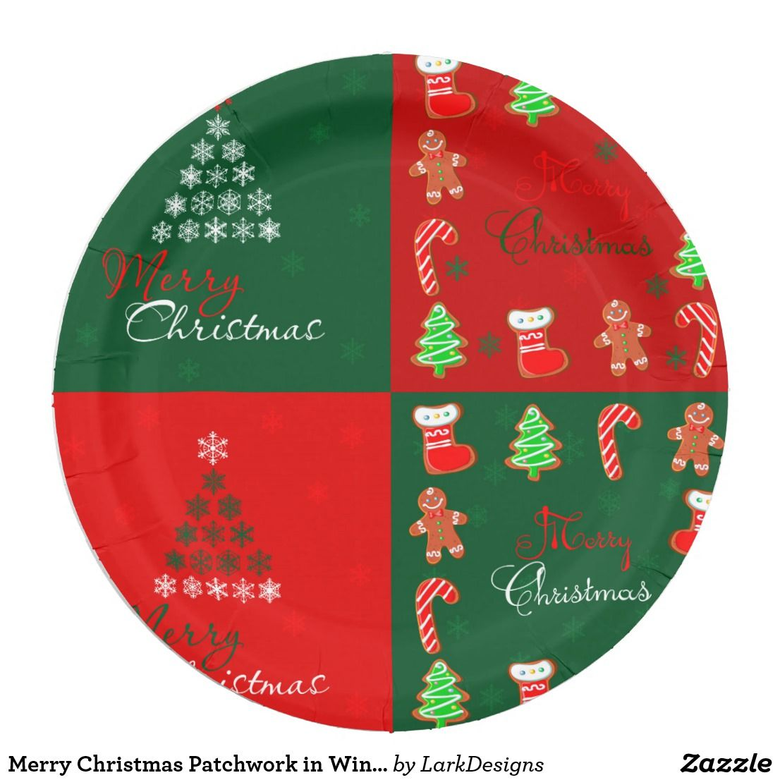 Merry Christmas Patchwork In Winter Green And Red Paper Plate Christmas Patchwork Christmas Plates Red Paper Plates
