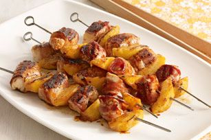 Barbecue Chicken and Peach Kabobs with Bacon recipe