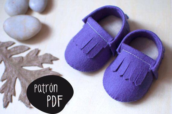 a515bcb5c Patrón para realizar patucos (estilo mocasín indio) para bebés de 0-3 meses  y de 3-6 meses