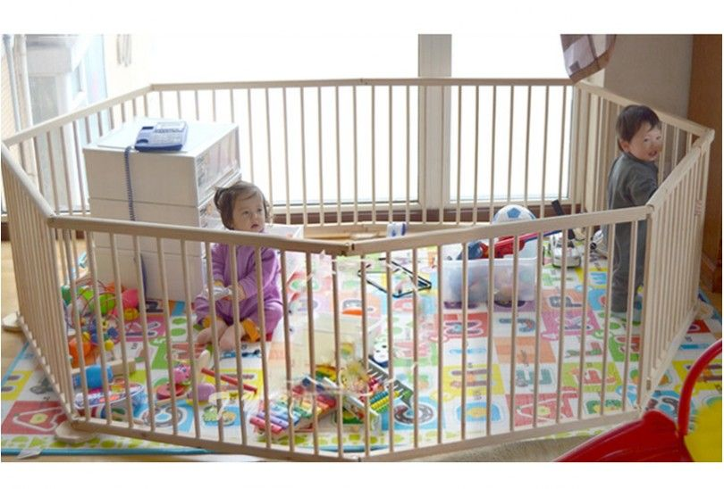 Wooden Baby Playpen 8 Panels Baby Playpen Kids Playroom Decor Baby Proof House